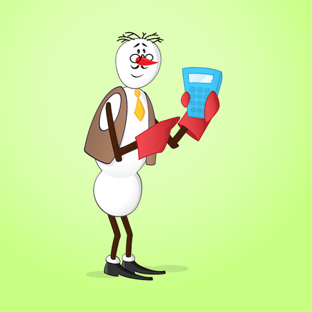 bookkeeper: Snowman bookkeeper with calculator
