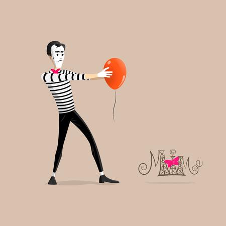 Un Mime realizar una pantomima llamada hipnotizando a un globo de color naranja