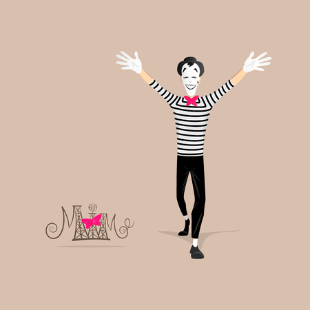 france painted: A Mime performing a pantomime called open arms