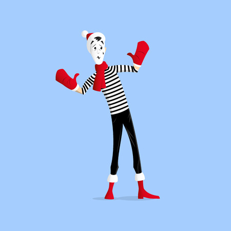 Mime performing a pantomime called behind the wall in the winter Illustration