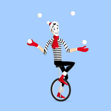 Mime performing a winter pantomime called a juggler on the unicycle with snowballs in the winter
