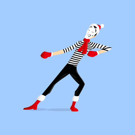 A Mime performing a pantomime called pulling something out hard Illustration