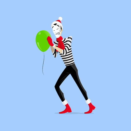 A Mime performing a pantomime called pushing green balloon Illustration