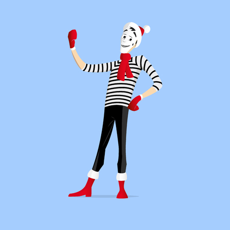 france painted: A Mime performing a pantomime called making selfie