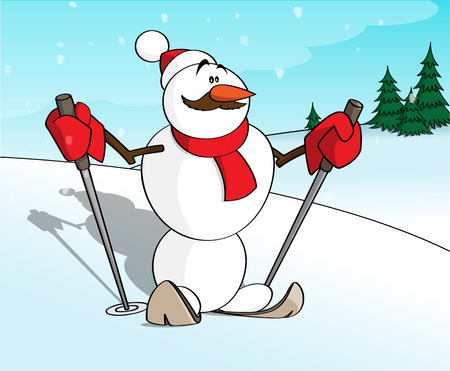 A cartoon character of a snowman sportsman going to ski