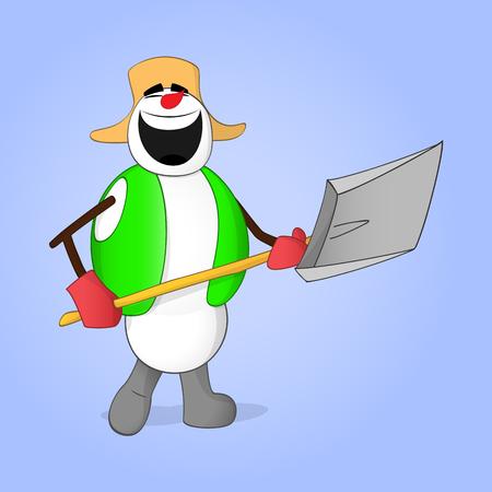 Yardman snowman laughing while holding shovel