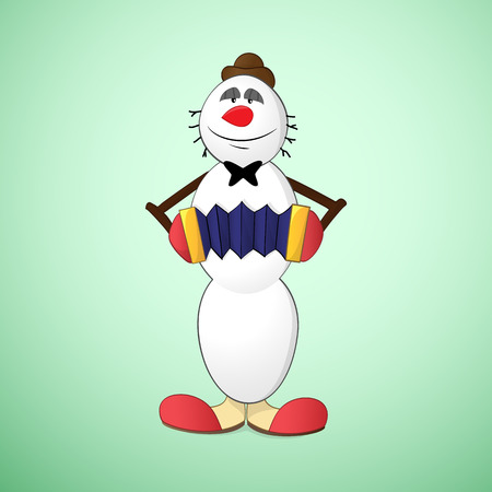harmonic: Snowman clown in hat and funny boots playing accordion