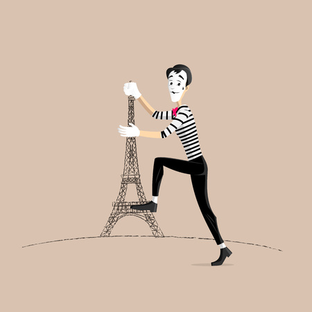 A Mime performing a pantomime climbing the eiffel tower Illustration