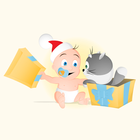 On Christmas or New Year day a Baby opens the box with kitten inside to get the best friends forever Illustration