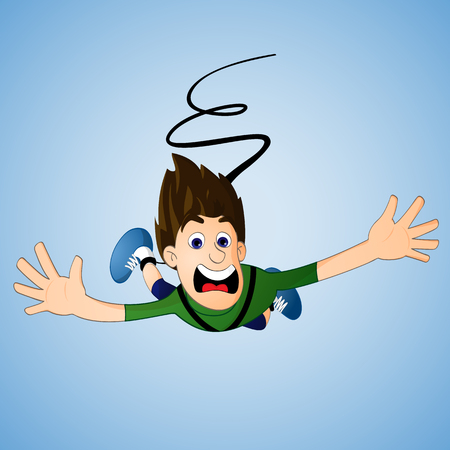 Young Man in green shirt bungee jumping drawn in cartoon style