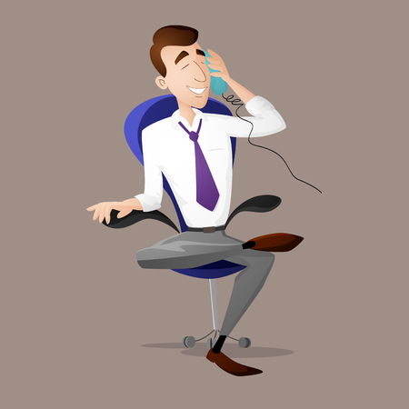 legs crossed: Manager sitting on the chair and speeking on the phone in flat style