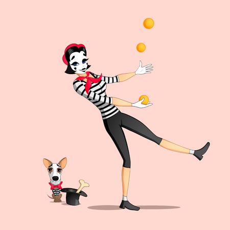 pantomima: Un mimo de chica ejecutando una pantomima llamada malabares con naranjas