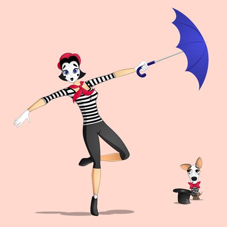 Un mimo de chica realizando una pantomima llamada volando con paraguas