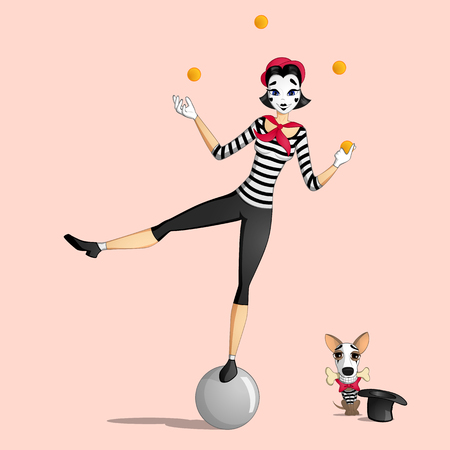 A girl mime performing a pantomime called juggling on the ball and a dog with a bone in its mouth
