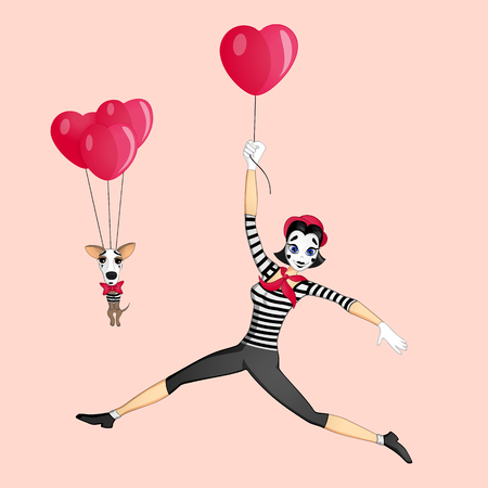 france painted: A girl mime performing a pantomime called flying with balloons Illustration