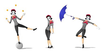 Conjunto de mimo de niña realizar diferentes pantomimas dibujados en estilo de dibujos animados