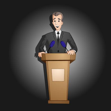 President or spokesman or man in black suit taking speech from tribune drawn in cartoon style