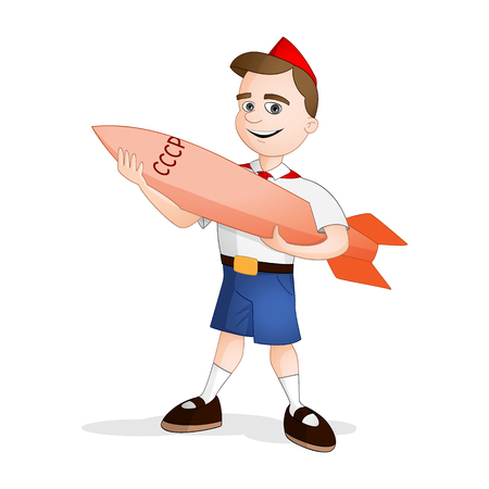 Pioneer boy in red skarf and blue shorts standing with the model of experimental rocket in his arms on international day of human space flight