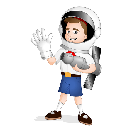 Pioneer boy in red skarf and blue shorts with astronaut or cosmonaut helmet on his head standing with the model of spaceship in his arm on international day of human space flight Ilustrace