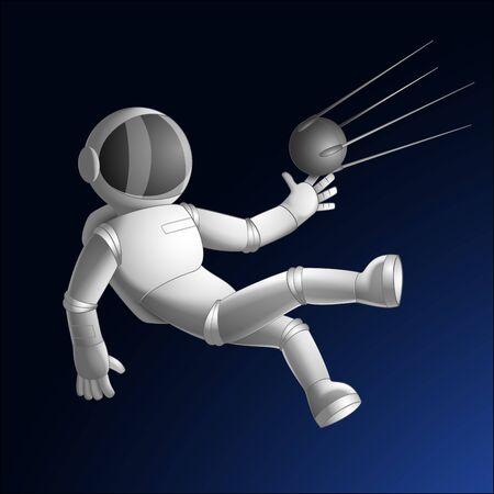 cosmonaut or astronaut catching sattelite sputnik in open space drawn in cartoon style