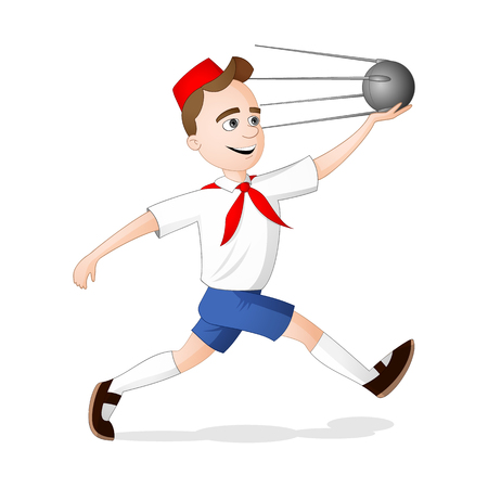 A pioneer or scout boy running with model of satellite sputnik in his hand on international day of human space flight