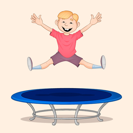 Blond haired boy in red shirt jumping high on blue trampoline and smiling Ilustrace