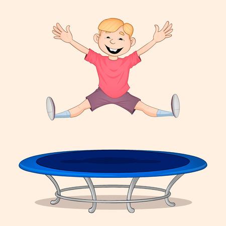 Ragazzo dai capelli biondi in camicia rossa che salta in alto sul trampolino blu e sorridente