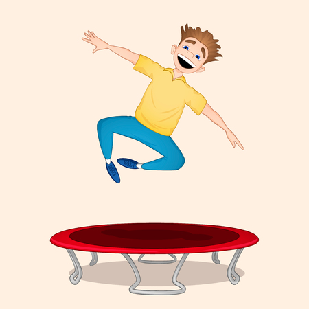 Young boy in yellow shirt and blue pants jumping on red trampoline