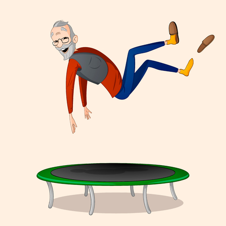 An old man in red shirt and blue pants jumping on green trampoline drawn in cartoon style