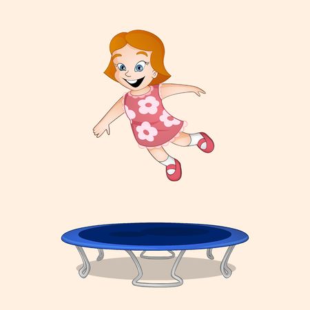 Red haired little girl in pink dress jumping on blue tranpoline drawn in cartoon style