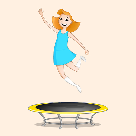 Red haired girl in blue dress jumping on trampoline drawn in cartoon style