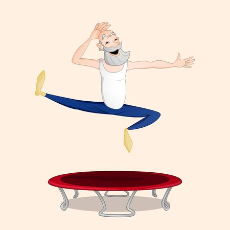 Old grandfather jumping on trampoline drawn in cartoon style Ilustrace