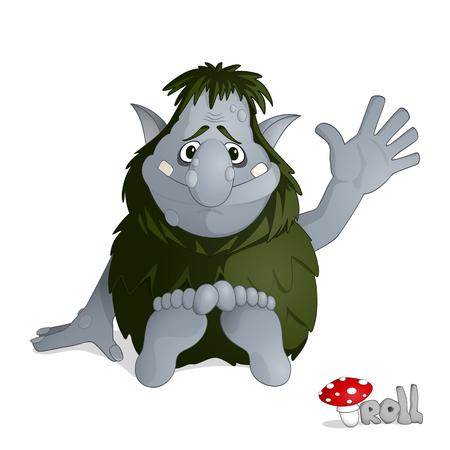 Pequeño troll de bosque amable de gris del folclore noruego vestido de hojas sentado y saludo dibujado en estilo de dibujos animados