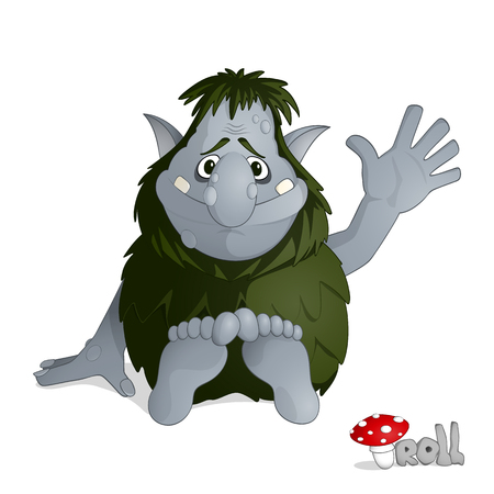 Small kind forest troll of gray from norvegian folklore dressed in leaves sitting and greeting drawn in cartoon style Vectores