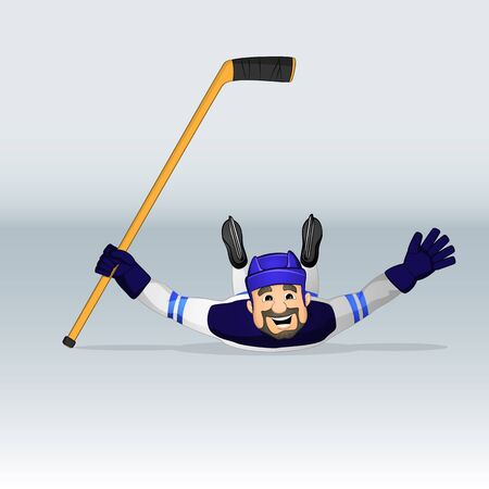 Finland ice hockey team player sliding drawn in cartoon style