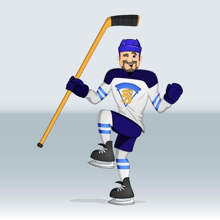 Finland ice hockey team player drawn in cartoon style