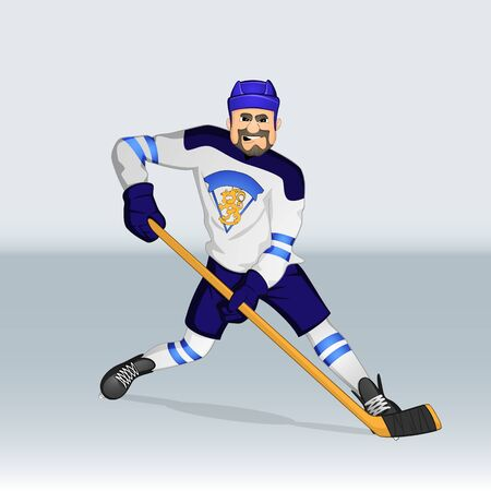 Finland ice hockey team player attacking drawn in cartoon style Ilustrace