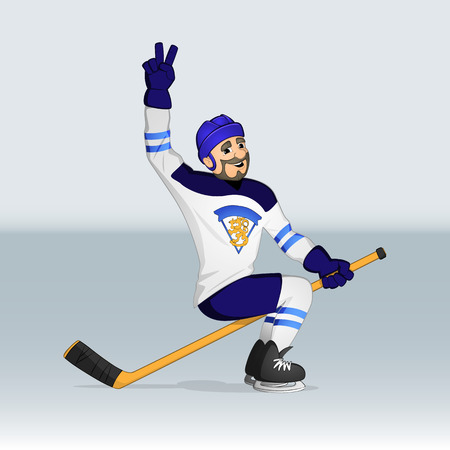 finnish: Finland ice hockey team player riding stick drawn in cartoon style Illustration