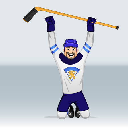 Finland ice hockey team player standing on knee drawn in cartoon style