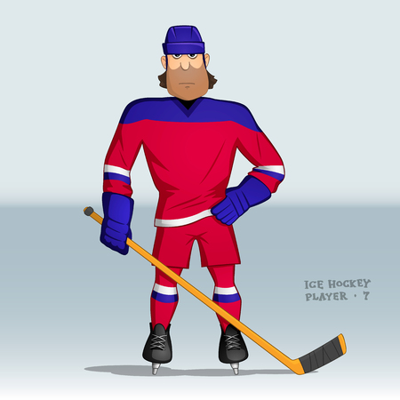 puck: serious ice hockey player in red uniform standing with one hand akimbo and with stick in other hand Illustration