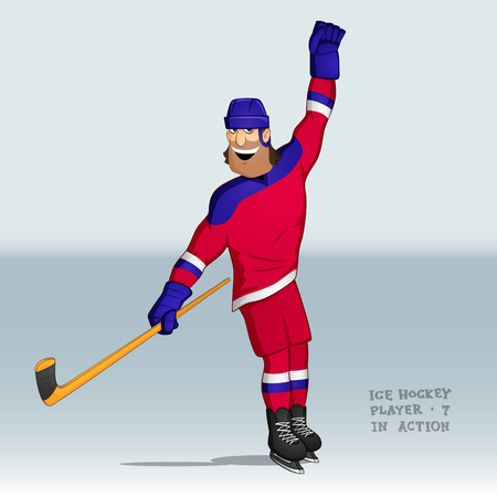 An ice hockey player in Russian uniform sliding and happy after good shot with a stick in one hand and the other hand up