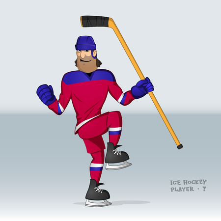 ice hockey player from russian team in action drawn in cartoon style