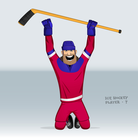 jersey: ice hockey player from russian team in action drawn in cartoon style