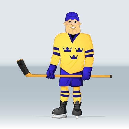 ice hockey team sweden player standing with stick drawn in cartoon style Ilustrace
