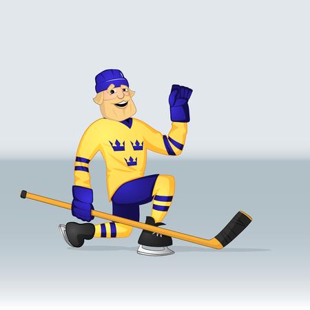 ice hockey team sweden player sliding on bent knee drawn in cartoon style