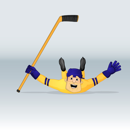 ice hockey team sweden player sliding drawn in cartoon style