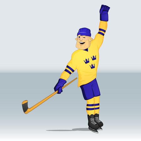 ice hockey team sweden player just shot a goal drawn in cartoon style