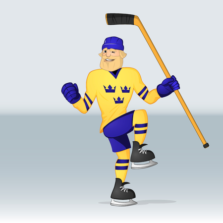 ice hockey team sweden player shot a goal drawn in cartoon style