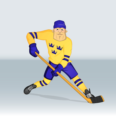 ice hockey team sweden player attacking drawn in cartoon style Ilustrace