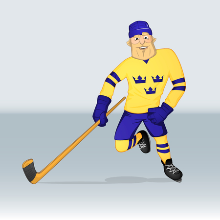 jersey: ice hockey team sweden player attacking drawn in cartoon style Illustration